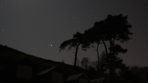 Jupiter over the beach huts at Studland, taken on the same night as Orion above.